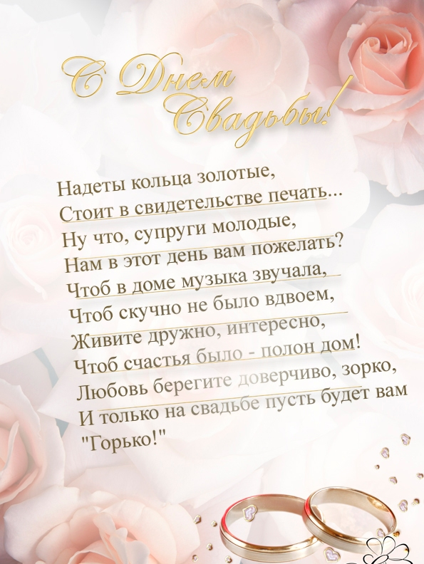 Поздравления с свадьбой в словах от родителей