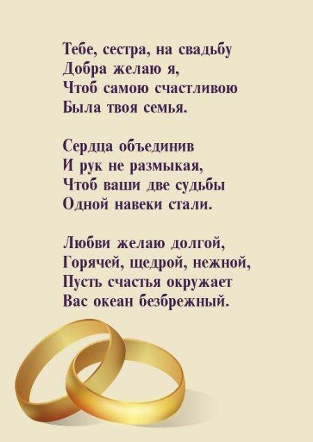 Поздравление на свадьбу братишке от родной сестры своими словами