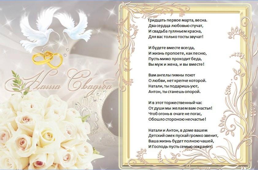 Поздравления от молодоженов на свадьбе своими словами